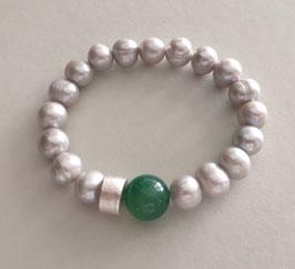 Perlenarmband hellgrau ca. 10-11 mm / Achat grün / Silberscheibe