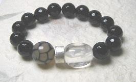 Armband Onyx facettiert 12 mm / Netzachat / Bergkristall / Silberscheibe
