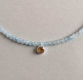 """Kette  """"Blue-Eyed-Girl III"""" - Aquamarin facettiert mit Citrin in Silber gefasst und Magnetverschluss - ca. 44,0 cm lang"""