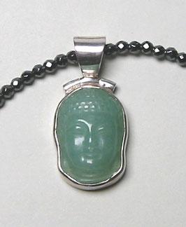 GREEN SOUL - Buddha-Anhänger aus Aventurin in Silber gefasst - optional mit Kette aus facettiertem Hämatit.