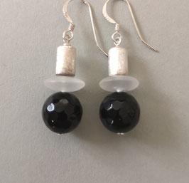 Ohrringe Onyx facettiert 12 mm / Bergkristall matt / Silberwalze / 925er Silber