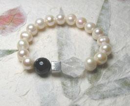 Perlenarmband weiss ca. 10-12 mm / Onyx / Bergkristall / Silberwürfel