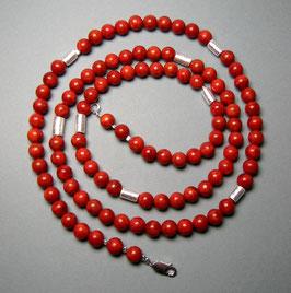 """""""Lady in Red"""". lange Kette aus Schaumkoralle mit Silberwalzen - ca. 90 cm lang"""