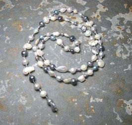 Y-Kette Unique Inspiration - Perlen in weiß, grau und blau - schwere Ausführung