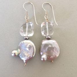 Glamouröse Ohrringe Barockperle silber / Bergkristall / 925er Silber