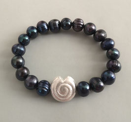 Perlenarmband dunkelblau  ca. 9,5-10,5 mm / Silberschnecke
