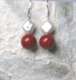 Ohrringe Schaumkoralle / Perle weiß / 925er Silber