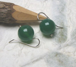 Ohrringe Achat grün 14 mm / 925er Silber