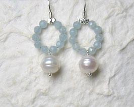 Ohrringe Aquamarin facettiert / Perle weiß / 925er Silber