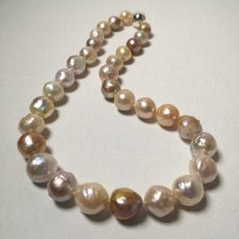 """Perlenkette """"ASAHI"""" - aufgehende Sonne - Kasumiperlen verlaufend mit 925er Magnetverschluss – ca. 44 cm lang"""