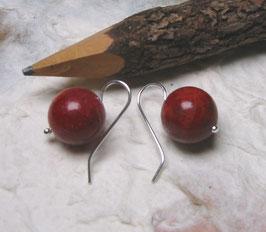 Ohrringe Schaumkoralle rot 14 mm / 925er Silber