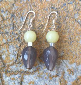 Ohrringe Olivenjade / Achatpampel facettiert / 925er Silber