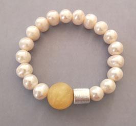 Perlenarmband weiß ca. 9,5-11,5 mm mit Calcit und Silberwalze