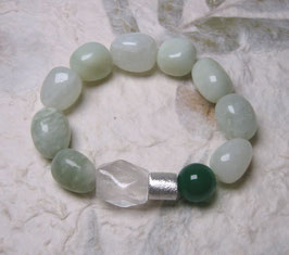 Armband Serpentin / Achat grün / Bergkristall / Silberwalze