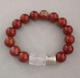Armband Jaspis rot ca. 12 mm / Bergkristall / Silberwalze