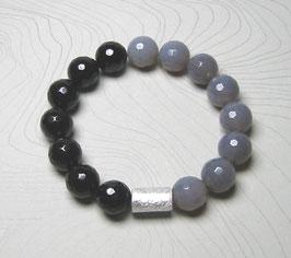 Armband Onyx facettiert und Achat grau/taupe facettiert 12 mm mit Silberwalze