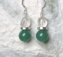 Ohrringe Achat grün / Silberscheibe / Bergkristall / 925er Silber