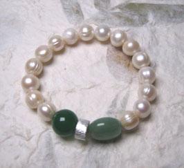 Perlenarmband weiß ca. 9-10 mm / Achat / Aventurin /Silberscheibe