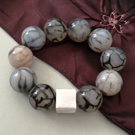 Armband Netzachat ca. 20 mm / Silberwürfel