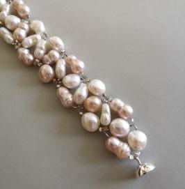 Armband Unique Rose - Perlen in weiß, rose und apricot