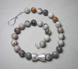 """Kette """"Silver on the Rocks"""" - aus Jaspis mit Silberelement und Fischhakenverschluss in 925er Sterling Silber"""