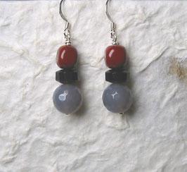 Ohrringe Achat facettiert / Onyx / Jaspis rot / 925er Silber