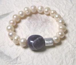 Perlenarmband weiss ca. 9-11 mm / Amethyst / Silberwalze