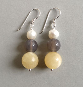 Ohrringe Calcit / Achat taupe / Perle weiß / 925er Silber
