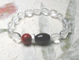 Armband Bergkristall ca. 8-9 mm / Onyx / Schaumkoralle / Silberscheibe