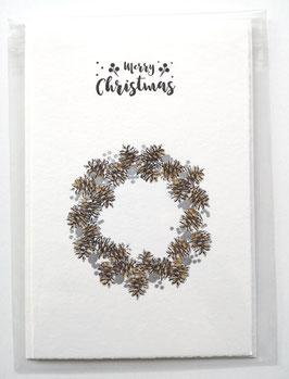 Merry Christmas - ZAPFENKRANZ - 10,5 x 15,5 cm - einzeln oder im günstigen 3er-Pack