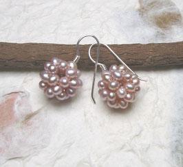 Ohrringe Perlkugel rosa ca. 14-15 mm / 925er Silber