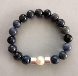 Armband Dumortierit 10 mm / Perle weiß / 2x Silberwalzen