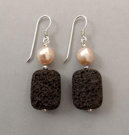 Ohrringe Lavakissen rötlichbraun / Perle rosa / Hämatit / 925er Silber