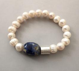 Perlenarmband weiß ca. 9,5-10,5 mm / Sodalith / Silberwalze