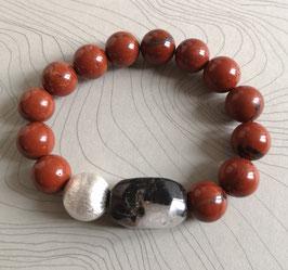 Armband Jaspis rot ca. 12 mm / Jaspisquader schwarzmeliert / Silberkugel