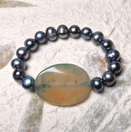 Perlenarmband blau ca. 10-11 mm mit Achatscheibe beige / blau