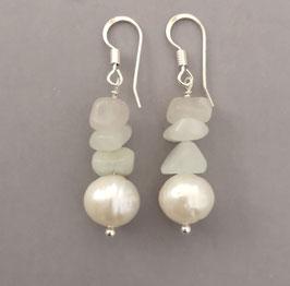 Ohrringe Perle weiß / heller Aquamarin / 925er Silber