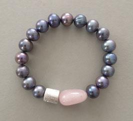 Perlenarmband dunkelblau ca. 10-11 mm / Rosenquarz / Silberwalze