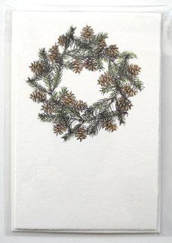 Weihnachtskarte - TANNENKRANZ - 10,5 x 15,5 cm - ohne Text - einzeln oder im günstigen 3er-Pack