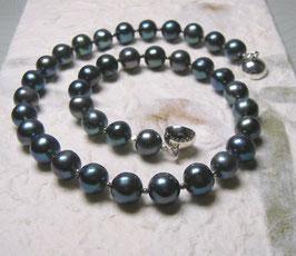 """Perlenkette  """"Mirablau I"""" - wie der Nachthimmel über Barcelona - Süßwasserzuchtperlen mit 925er Magnetverschluss – ca. 45 cm lang - Ohrringe optional"""