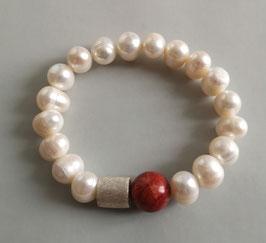 Perlenarmband weiß ca. 10-12 mm / Schaumkoralle / Silberwalze