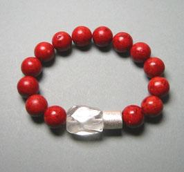 Armband Schaumkoralle 12 mm / Bergkristall / Silberwalze