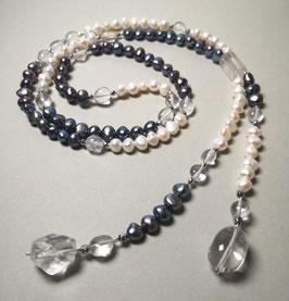 Y-Kette Unique Crystal Rock Sky - Perlen in blau und weiß mit Bergkristall