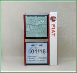 FIAT.   Un Porte certificats double pour assurance et CT avec logo Fiat  (fond noir ou transparent)
