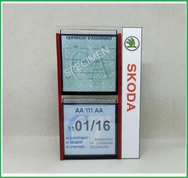 SKODA.   Un Porte certificats double pour assurance et CT avec logo Skoda  (fond noir ou transparent)