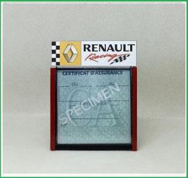 ( DM019 )   Un Porte certificat d'assurance ou CT auto avec dessin Renault racing   (fond noir ou transparent)