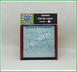 ( R04 )   Un Porte certificat d'assurance ou CT. Région Centre Val de Loire  (fond noir ou transparent)