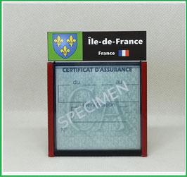 ( R08 )   Un Porte certificat d'assurance ou CT. Région Île de France  (fond noir ou transparent)
