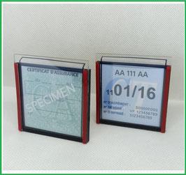 ( B )   Deux Portes certificats simples neutres pour assurance  et un pour CT (font noir ou transparent)