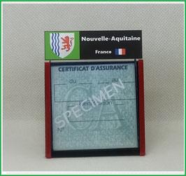 ( R10 )   Un Porte certificat d'assurance ou CT. Région Nouvelle Aquitaine  (fond noir ou transparent)